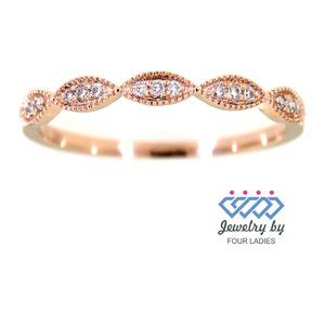 Real Diamond Marquise Style Bridal Band Rose Gold
